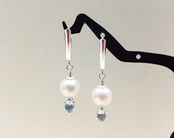 Freshwater Pearl and Blue Topaz Dangle Silver Earrings
