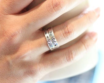 Mothers rings - Stackable rings - Name rings - Sterling silver - Personalized hand stamped jewelry - Mommy jewelry - Gift mom - Mothers Day