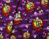 "2341  - 1 yard Cotton fabric - Nightmare Before Christmas, Jack Skellington, Sally (140cmx91.44cm,55""x36"")"