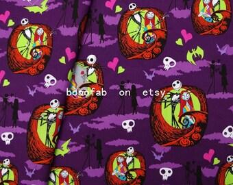 "2341  - 1 yard Cotton fabric - Nightmare Before Christmas, Jack Skellington, Sally (140cmx91.44cm,55""x36"")"