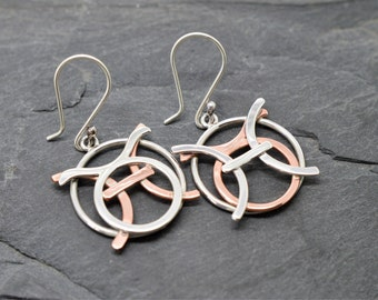 Pisces Taurus zodiac earrings sterling silver and polished copper