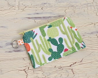 Coin Purse-Small Flat Zippered Pouch with Key Chain Hoop
