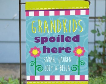 Personalized Grandkids Spoiled Here Flag Grandparents Gift House or Garden Flag