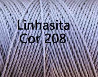 Linhasita Light Grey/ Silver Cor 208/ Linhasita Waxed Polyester Cord/ Durable/ Hilo
