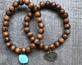 Natural olive wood and stone stacking stretch bracelet set