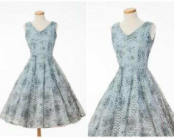 Vintage Ribbon Dress // Lovely 1950s Floral Powder Blue Pink Full Skirt Dress Small Medium