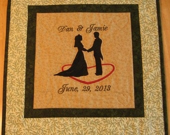 Wedding Silhouette Embroidered and Quilted Wall Hanging