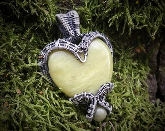 Washington Serpentine (Healerite) Puffy Heart with Serpentine Accent, Wrapped in Oxidized Sterling Silver Wire - wirewrap pendant