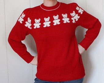 Vintage 1980's Sweater - Teddy Bears Print - Red Sweater - Puffy Sleeves - Long Sweater - Animal Print