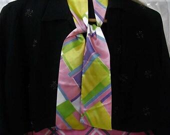 Vtg pastel color block acetate scarf