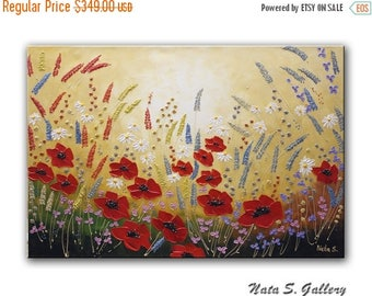 Abstract Wildflower Painting Acrylic Textured Artwork Poppy Art Landscape Original Wildfield Painting Home Living Large Wall Art by Nata S.