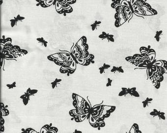 Black and White Silhouette Butterfly Cotton Fat Quarter Fabric