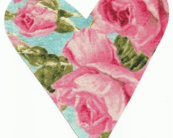 Pink Rose/Floral Heart Fabric Iron on Appliques ~ No Sew