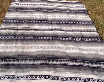Mexican Blanket / Rug / Southwest / Southwestern / Multi-Purpose / Throw / Blanket / Boho / Gray, White Blue