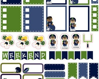 Football planner stickers (blue and green)
