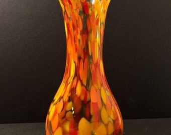 blown glass vase in orange yellow red frit • fire mix • art glass by abiona