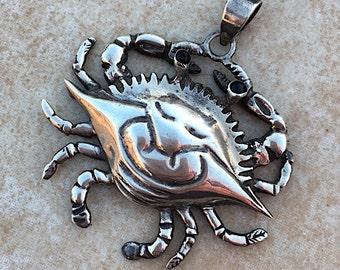 Giant Vintage Silver Crab Pendant