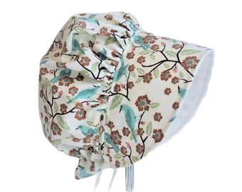 Baby Bonnet, Sun Hat, Girl Sun Bonnet, Teal Songbirds Toddler Bonnet, Modern Bonnet, Summer Bonnet, Newborn Bonnet, Baby Gift, Made To Order