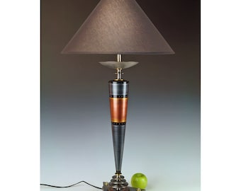 "Atomic Ranch table lamp. Futuristic. Industrial. Space age. 33"" tall. Pewter and copper. In stock for fast shipping. #278."