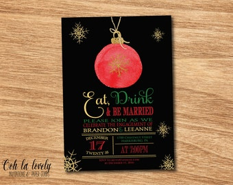 Christmas Engagement Party Invitation, Couples Shower Invite, Holiday Engagement Party Invitation, Christmas Bulb