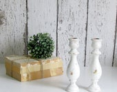 Chippy White Wooden Candle Holder