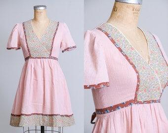 70s Prairie Mini Dress Empire Waist Sherbet Pink Floral Cotton Jody T California Hippie Festival Dress