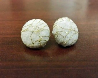 Button Earrings-White & Grey Pattern With Gold Sparkly Overlay