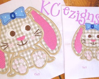 Bunny With Bow Machine Applique Embroidery Design - 4x4, 5x7 & 6x8