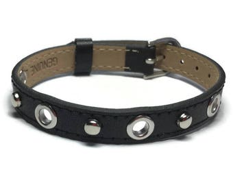 Eyelet Studded Black Leather Bracelet  -  Silver Studded Black Wristband - 10mm Black Leather Wristband