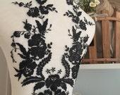Exquisite Wedding Lace Applique in Black , Bridal Veil Applique for Wedding Gown, Bridal Dress Decor, Bodice