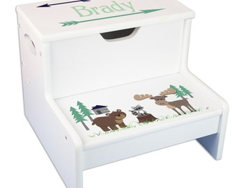 Childrens Personalized North Woodland Storage Step Stool Rustic Mountain Cabin Nursery Arrows Step n Store Bear Child's Stools STEP-whi316c