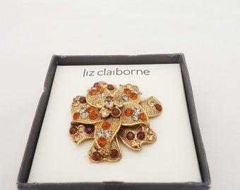 Vintage Liz Claiborne Brooch, Liz Claiborne Rhinestone Pin, Brooch Signed LC