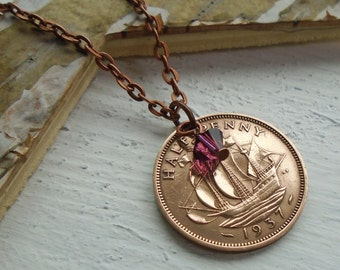 80th Birthday Gift, 1937 Half Penny Necklace, Birthstone Gift, Present for Women, Birthyear Necklace, Coin Jewelry for your Sister,Mother