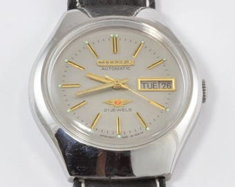 Vintage Men's Citizen, 21 Jewel Automatic Movement - Silver Tone, Works -  New Black Band - Self-Winding Watch