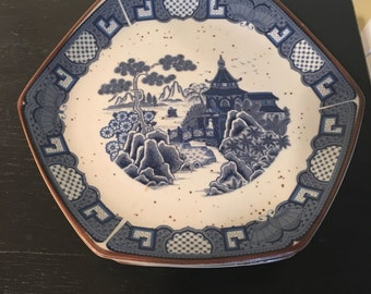 Chinoiserie Octagon Six Sided Plates Pagoda Design Stoneware Made in Japan Set of 4