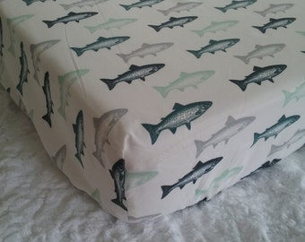 Baby Bedding Crib Nursery Sheets or Seperates Fish Trout Fishing Camping Blue with options