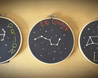 Constellation Hoop Art - Set of 3