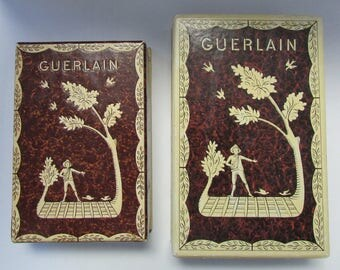 Vintage Guerlain Perfume and Box Set of TWO  L'Heure Bleue Made in France Peasant Workers Theme French perfume
