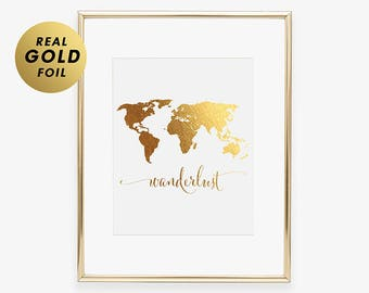 Gold Foil World Map Wanderlust Map of World GOLD FOIL PRINT World Traveler Print Decor Poster Wall Art Gold Metallic Modern Office Art A4