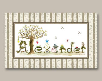 Woodland Nursery Decor - Nursery Art Name Sign - Toddler Boys Room Decor - Personalized Nursery Decor Name Sign Art Print