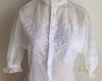 Vintage 1950s 60s Misses' Sheer White Embroidered Blouse  0 2 4