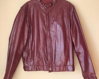 Vintage Cafe Racer Oxblood Red Leather Motorcycle Jacket size 42 Fantastic International