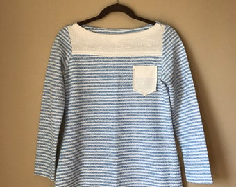 Vintage Blue and White Striped Long Sleeved Tunic