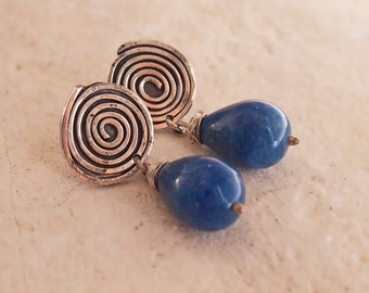 Blue Stone Earrings, Big Spiral Post, Blue Gemstone Free Drops, Hammered Sterling Silver