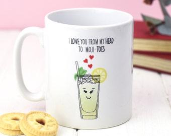 Mojito Valentine's Mug, Valentines Gift, Funny Mug, Mojito, Mug, Couple Gift, Love, Illustration, Girlfriend Gift, Birthday Gift, Valentines