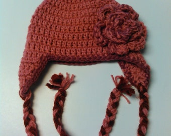 3-6 month Mauve and Maroon Ready to Ship Hat