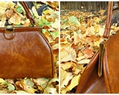Vintage 1950s 1960s Brown Tan Large Kelly Bag Purse Rockabilly Mod