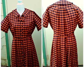 Vintage 1940s 1950s Orange Black Plaid Day Dress Belt Rockabilly VLV L XL Rare