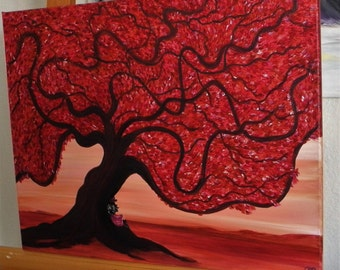 original painting, fantasy art, red tree, red sky, southwest skyline