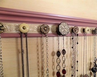 """Wall jewelry holder. This necklace rack/ jewelry organizer in Vintage blush and champagne  has 7 decorative  knobs 20""""  gift of storage"""